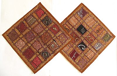 Patchwork on Dark Brown Cushion Covers