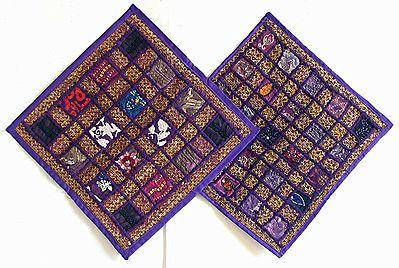 Patchwork on Dark Purple Cushion Covers