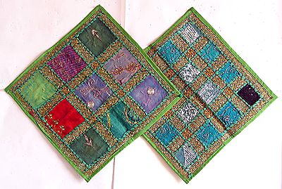 Patchwork on Green Cushion Covers