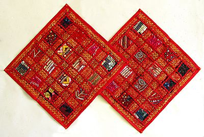 Patchwork on Red Cushion Covers