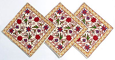 Three Piece Cushion Covers with Kashmiri Embroidery