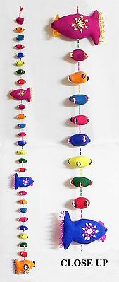 Cute Cloth Fishes with Beads - Wall Hanging