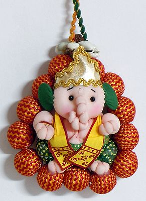 Priest Ganesha Surrounded by Rudraksha - Wall Hanging