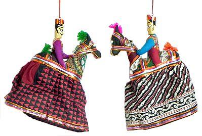 Pair Of Kachi Gori Dancing Dolls Wall Hanging
