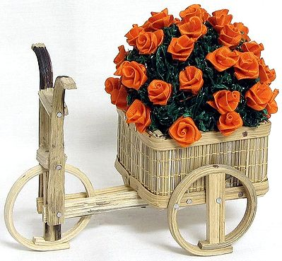 Bouquet of Orange Rose in a Cart