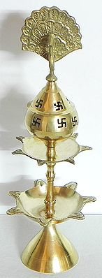 Ghee or Oil Lamp with Peacock