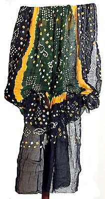 Black, Green, Yellow and White Tie and Dye Chunni