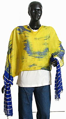 Blue and Yellow Wrinkle Chunni with Golden Bead Jhalar