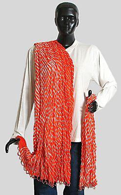 Dark Saffron and White Stripe Wrinkle Chunni with Saffron Bead Jhalar