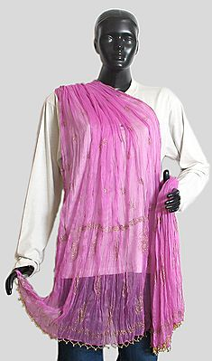 Light Mauve Wrinkle Chunni with Gold Paint and Golden Bead Jhalar
