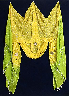Light Yellow and Light Green Tie and Dye Chunni with Mirrorwork and Cowrie Jhalar