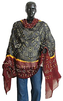 White and Yellow Tie and Dye on Black and Maroon Dupatta