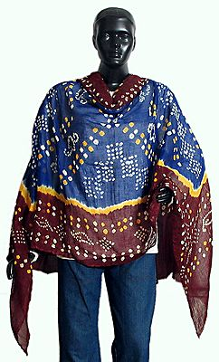 White and Yellow Tie and Dye on Dark Blue and Maroon Dupatta