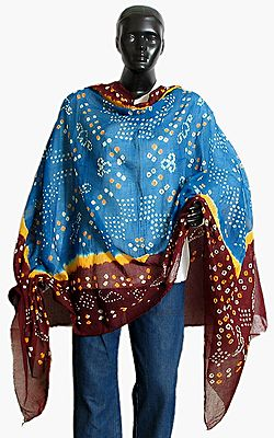 White and Yellow Tie and Dye on Dark Cyan and Maroon Dupatta