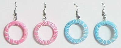 Two Pairs of Blue and Pink Hoop Earrings