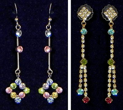 Two Pair Stone Studded Dangle Earrings
