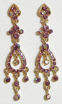 Light Mauve Stone Studded Dangle Earrings