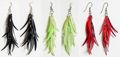 Three Pairs of Acrylic Feather Earrings