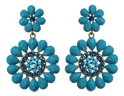 Blue Stone Studded Flower Earrings