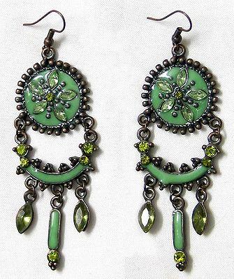 Green Stone Studded Earrings