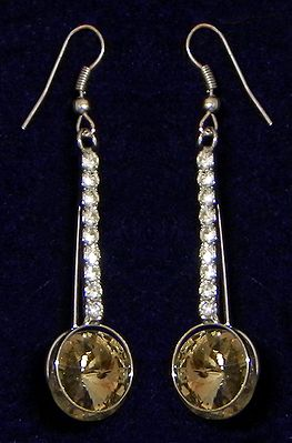 Light Yellow with White Stone Studded Dangle Earrings