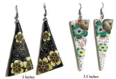 Two Pair of Black and White Painted Glitter Earrings