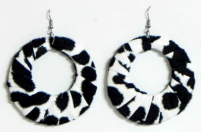 Black and white Cloth Wrapped Metal Hoop Earrings