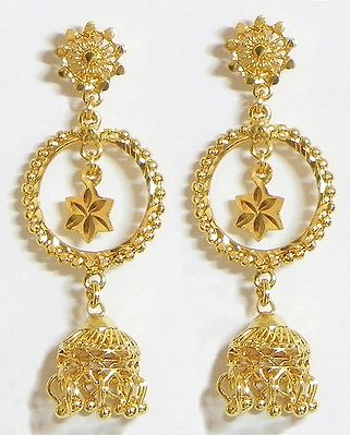 Gold Plated Ring with Jhumka Earrings
