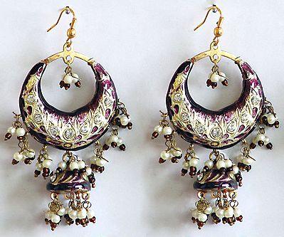 Amethyst Color Meenakari Hoop Earrings