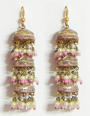 Light Pink with Golden Meenakari Umbrella Earrings