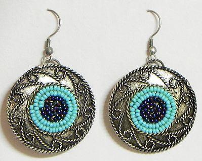 Beaded Oxidised Metal Earrings