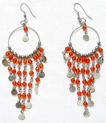 Orange Beads Jhalar Earrings