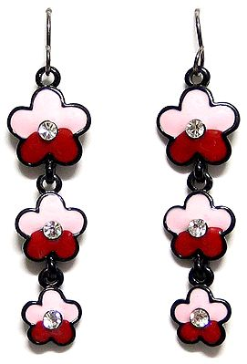 Pink and Red Dangle Earrings
