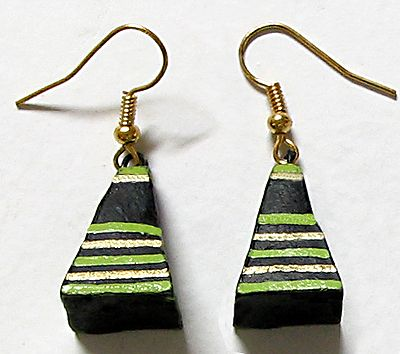 Pyramid - Green and Yellow Painted Black Earrings