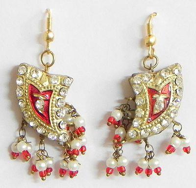 Red with Golden Meenakari Earrings