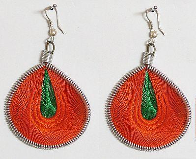Saffron and Green Thread Earrings