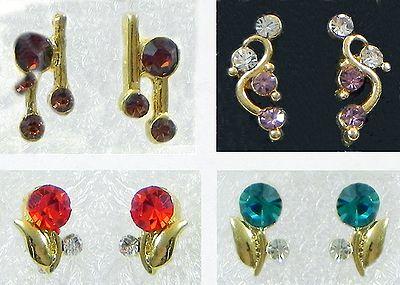 Four Pair Stone Setting Stud Earrings