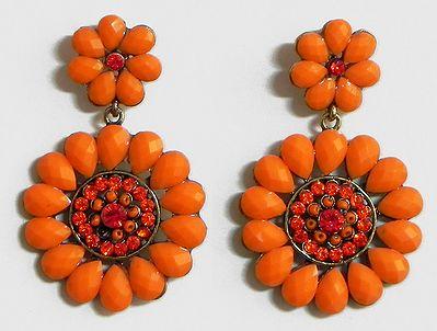 Saffron Stone Studded Flower Earrings