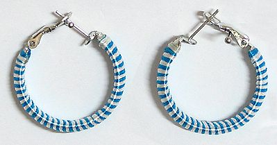 White with Blue Thread Earrings