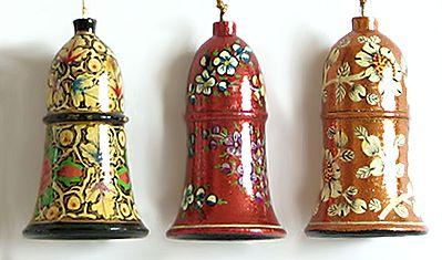 Hand Painted Hanging Papier Mache Bells from Kashmir (Set of Three)