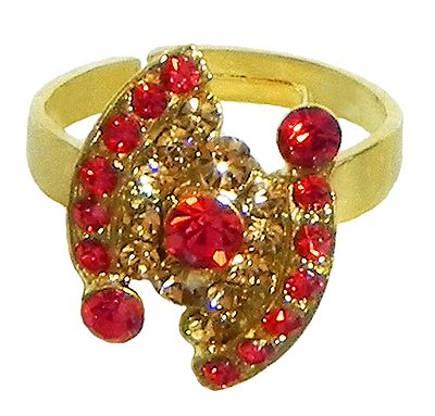Red and Brown Stone Studded Adjustable Ring