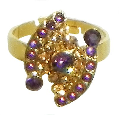 Purple and Brown Stone Studded Adjustable Ring