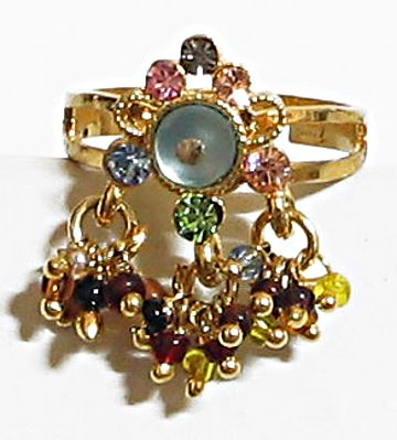 Elegance - Multicolor Stone and Beaded Adjustable Ring