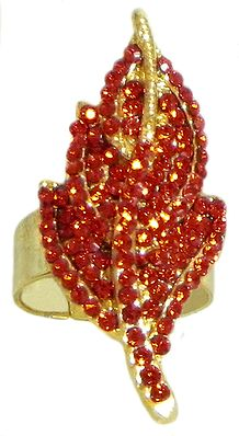 Red Stone Studded Leaf Ring