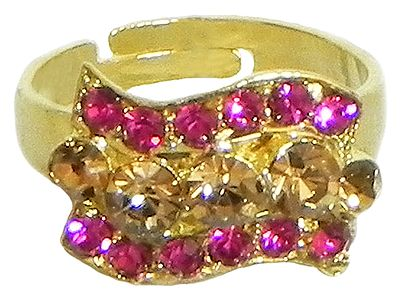 Magenta and Brown Stone Studded Adjustable Ring