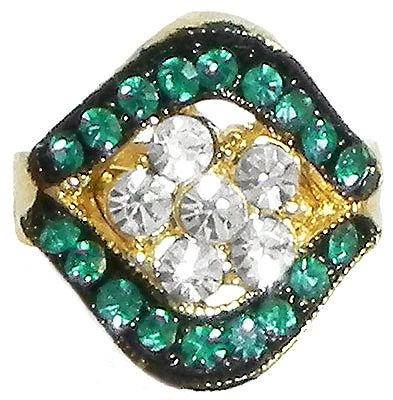 Cyan and White Stone Studded Adjustable Ring