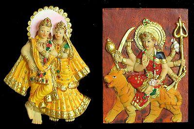 Radha Krishna and Bhagawati - Set of Two Magnets