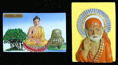 Buddha and shirdi Saibaba - Set of Two Magnets