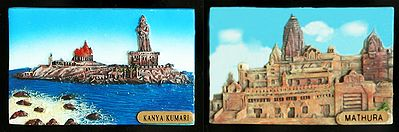 Vivekananda Rock Temple and Statue of Poet Thiruvallavur in Kanyakumari and Krishna's Birth Place, Mathura - Set of Two Magnets