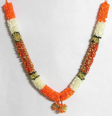 Saffron, White and Golden Ribbon Garland